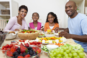 african-american-family-meal-father-mother-children-healthy-fruits-cheese-vegetables